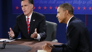 Mitt Romney and Barack Obama during their final presidential debate