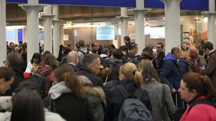 Stormy weather has brought travel chaos to transport hubs across the UK.