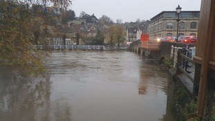 High river levels in Bradford on Avon