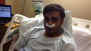 Ummad Farooq in bed after pioneering surgery at the Queen Elizabeth hospital