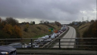 Gridlock on the A14 due to the closure of the Orwell bridge