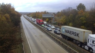 Queues of traffic due to the closure of the Orwell bridge