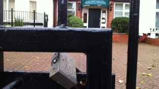 The gates at the care home are padlocked this lunchtime