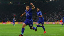 Shinji Okazaki celebrates scoring his opening goal in the Champions League