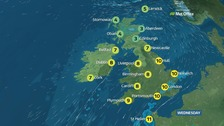 Top temperatures of 11C (52F) on Wednesday.