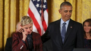 Ellen moved to tears as Obama awards her top US honour