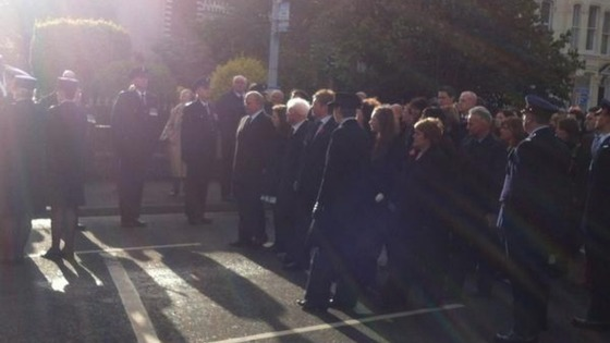 The family of David Black lead hundreds of mourners into church