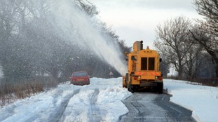 A snow blower gets to work on the blocked A66 between Scotch Corner and Penrith.