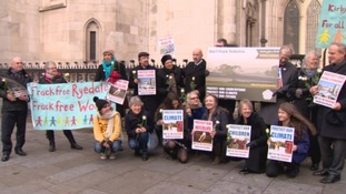 Anti fracking protesters outside the High Court this week.