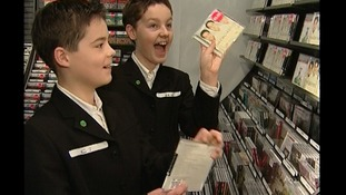 The Choirboys seeing their first CD in store.