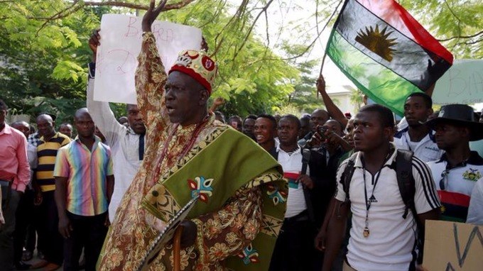 Traditional ruler Prince Ozo Onna joins supporters of Indigenous People of Biafra (IPOB) leader Nnamdi Kanu in a rally in December 2015.
