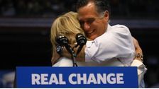 Mitt Romney hugs his wife Ann at the final rally of the campaign