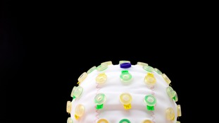 A fabric cap used to measure brain activity