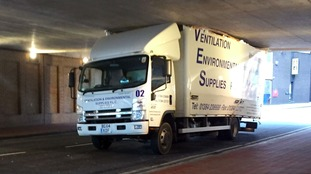 A lorry got wedged under a concrete overpass in Dale End