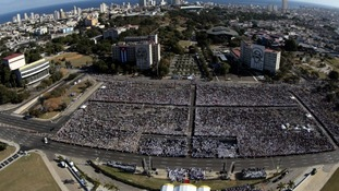 Hundreds of thousands of people gathered for mass in Cuba.