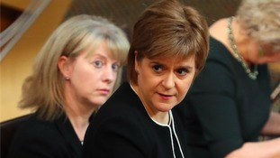 First Minister Nicola Sturgeon at First Minister's Questions today.