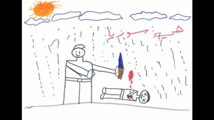 Syrian children draw pictures of war