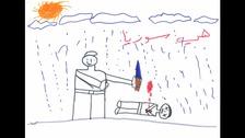Syrian children draw pictures of war