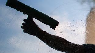 Window cleaner stock shot