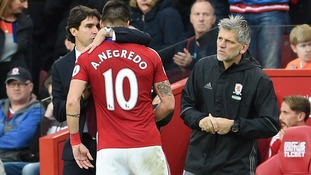 Aitor Karanka speaking to Alvaro Negredo