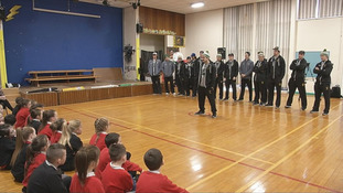Pupils at Black Mountain Primary School got to meet the Vermont ice hockey players who taught them about the sport.