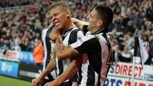 Dwight Gayle and Aleksandr Mitrovic celebrating