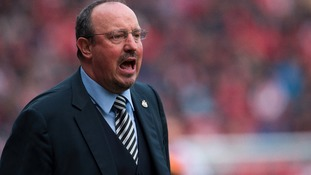 Rafa Benitez urges his team on from the sidelines