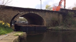 The bridge near Halifax has been closed to traffic since floodwater washed out its foundations