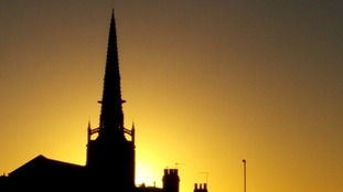 Sunset over St Mary's in Rushden, Northamptonshire on Friday 25 November 2016.