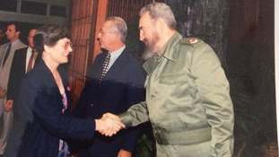 Lila Haines meeting Fidel Castro in the 1990s