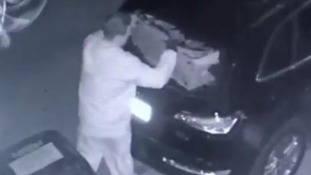 The man allegedly removing a suitcase from her car