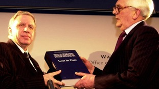 Sir Ronald Waterhouse presents his report to the then Welsh Secretary, Paul Murphy, in February 2000