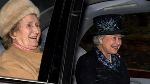Margaret Rhodes with the Queen at the Sandringham Estate in 2008