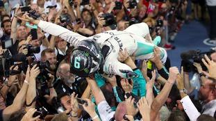 Nico Rosberg celebrates winning his world championship.