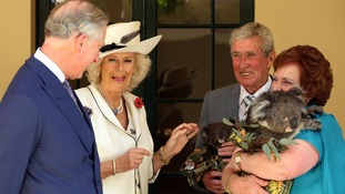 The Prince of Wales and Duchess of Cornwall with Koala rescue volunteers Warren and Rae Campbell