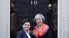 Polish prime minister Beata Szydlo and Theresa May outside 10 Downing Street.