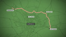 The planned route of the NDR, stretching from Postwick to Taverham.