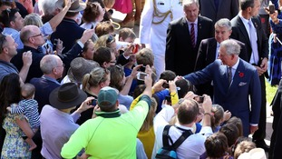 Prince Charles speaks with the crowd outside the Adelaide Convention Centre