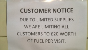 Notice limiting purchase to £20 worth of fuel