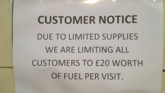 Notice limiting purchase to 20 worth of fuel