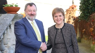 Cathaoirleach of the Seanad Senator Denis O'Donovan (left) greets First Minister of Scotland Nicola Sturgeon at Leinster House.