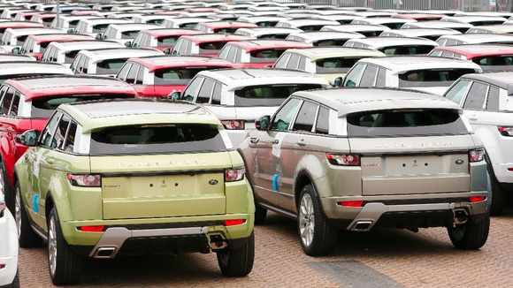 Range Rover Evoque cars, made by Land Rover sit at the docks in Southampton awaiting export.