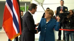 David Cameron with German Chancellor Angela Merkel at a previous meeting in Berlin