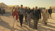 Prime Minister David Cameron and Jordanian Foreign Minister Nasser Judeh visiting a refugee camp school