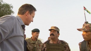 The Prime Minister speaks with members of the Jordanian Armed Forces