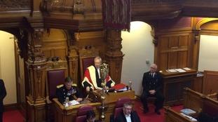 Sir John McColl during his final States speech