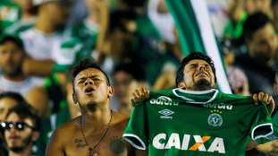 Chapecoense fans showing their support for the plane crash victims.