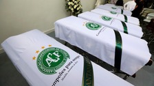 Coffins of the crash victims