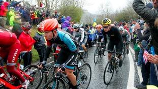 Cyclists climb Sutton Bank