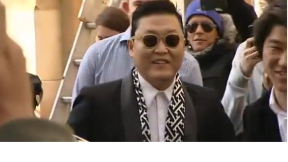 Korean rapper Psy arrives at the Oxford Union